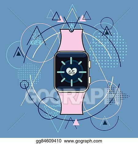 Clip Art Vector Smart Watch Fitness Tracker Application