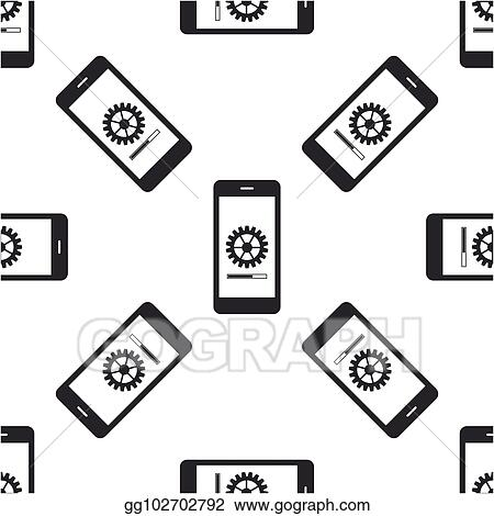 Vector Stock - Smartphone update process with gearbox