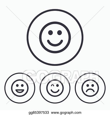 Clip Art Vector Smile Icons Happy Sad And Wink Faces Stock Eps
