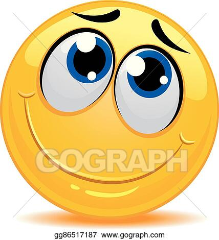 Vector Art - Smiley emoticon feeling shy. Clipart Drawing ...