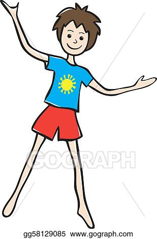 99c79ea19a120 Vector Clipart - Smiling little boy with raised hands. Vector ...