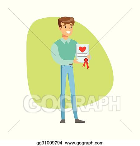 Eps Illustration Smiling Man Holding Life Insurance Constract