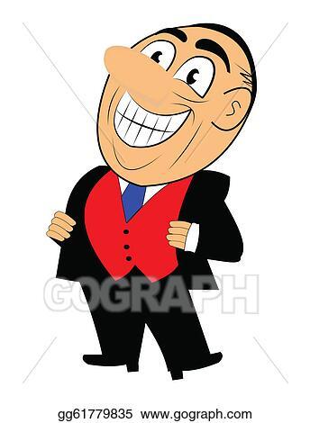 vector illustration smiling salesman eps clipart gg61779835 rh gograph com car salesman clipart Selling Clip Art