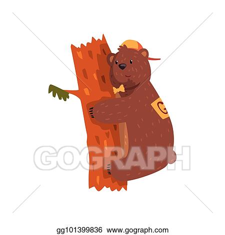 Vector Art Smiling Wild Bear Hugging Tree Trunk Cartoon Animal With Brown Fur Small Rounded Ears And Paws With Claws Grizzly In Cap And Bow Tie Flat Vector For Sticker Postcard Tree, artwork, trunk, cartoon, nature, design, creative, decorative, animation, graphic, graphic. gograph