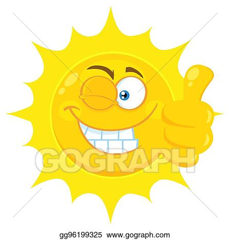 7b810e18558f Smiling Yellow Sun Cartoon Emoji Face Character With Wink Expression Giving  A Thumb Up