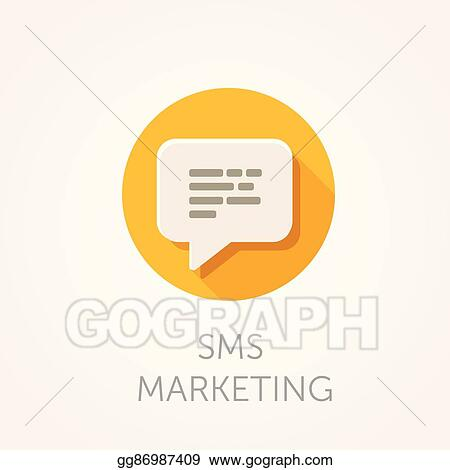 Vector Stock - Sms marketing icon  flat design style with
