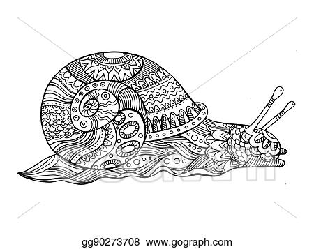 Vector Illustration Snail Coloring Book For Adults Vector Stock