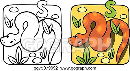 Vector Art - Snake coloring book. alphabet s. EPS clipart gg75079092 ...
