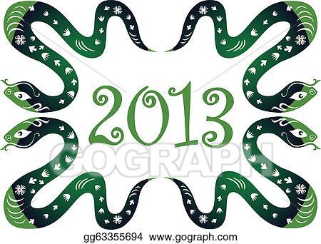Clip Art Vector - Snake new year 2013    Stock EPS