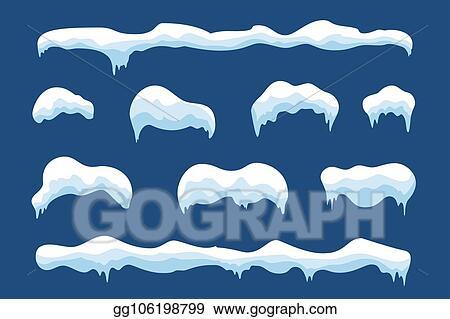 vector illustration snow ice icicle set winter design white blue