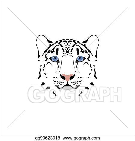 Eps Illustration Snow Leopard Head Vector Clipart Gg90623018