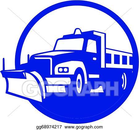 vector stock snow plow truck circle retro stock clip art rh gograph com plowing snow clipart snow plowing pictures clip art