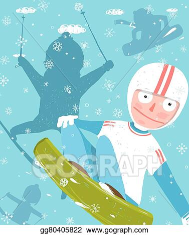 Clip Art Vector - Snowboarding and skiing funny free rider
