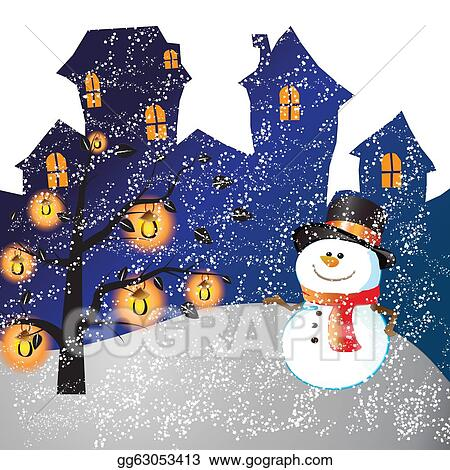 Christmas Day Clipart.Stock Illustration Snowman Of Frame On Christmas Day