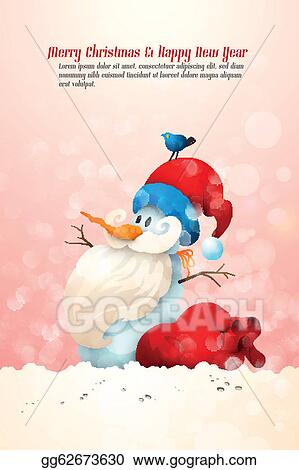 a43c8baa0d45c Vector Stock - Snowman with santa s hat with large gift bag and bird ...