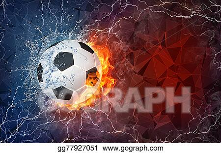 Fire soccer ball. Clip art in and