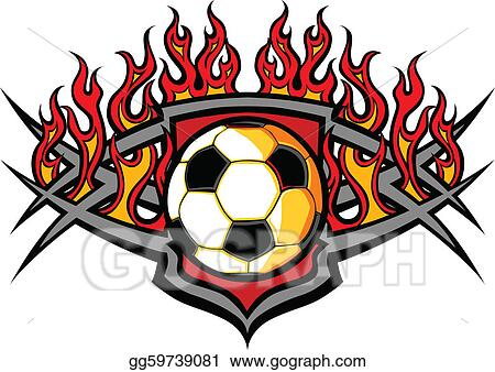 clip art vector soccer ball template with flames ve stock eps