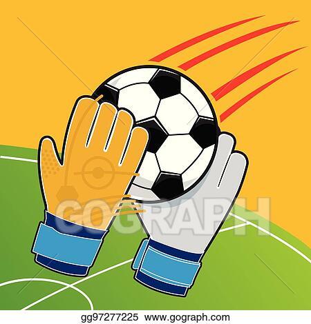 Vector Illustration Soccer Goalkeeper Gloves Batted Ball Vector Stock Clip Art Gg97277225 Gograph