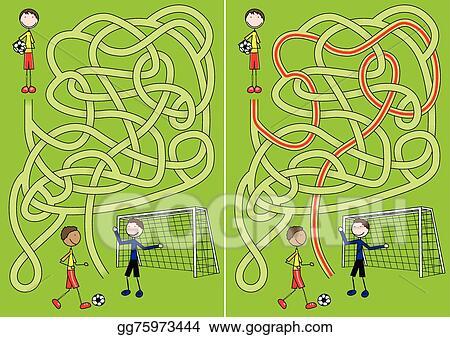 EPS Illustration - Soccer maze  Vector Clipart gg75973444