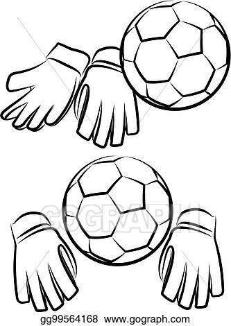 Vector Stock Soccer Or Football Goalkeeper Gloves And Ball Clipart Illustration Gg99564168 Gograph