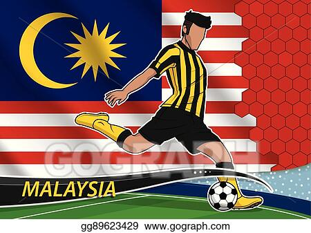 Soccer team player in uniform with state national flag of malaysia.vector  illustration. c7aeb08ca