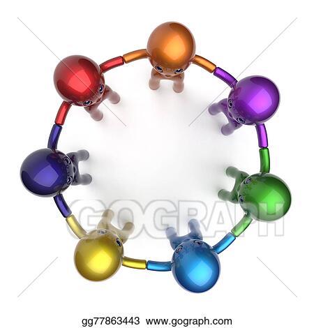 Clip Art - Social network characters circle teamwork diverse friends