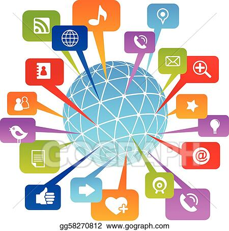 vector clipart social network world with media icons vector rh gograph com media clipart for powerpoint media clipart black and white