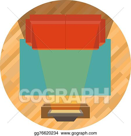 Vector Stock Sofa And Tv Top View Clipart Illustration Gg76620234