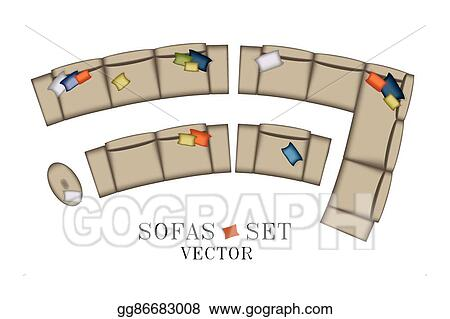 Vector Illustration Sofas Armchair Set Top View Furniture Pouf