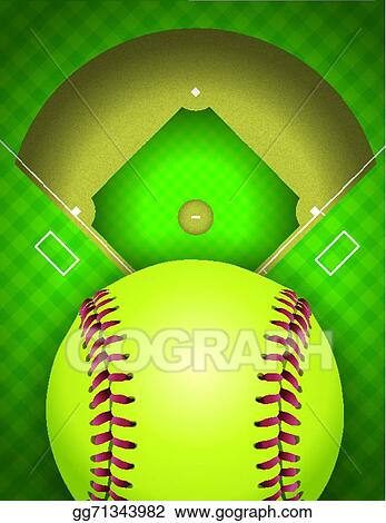 eps vector softball field and ball background illustration stock rh gograph com Softball Player Clip Art Softball Tournament T-Shirt Designs