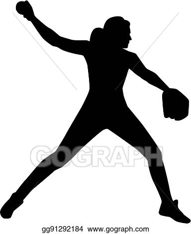 eps vector softball pitcher silhouette stock clipart illustration