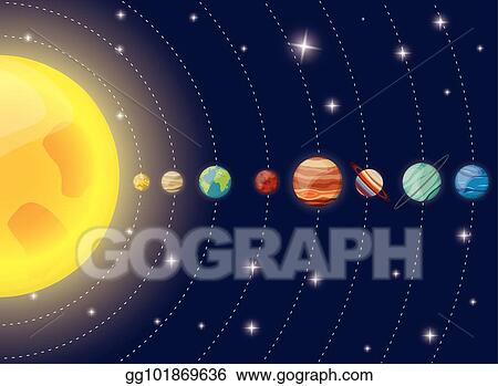 Diagram Of The Sun And The Planets.Eps Vector Solar System Planets Sun Diagram Stock Clipart