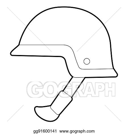 stock illustration soldier helmet icon outline style clipart
