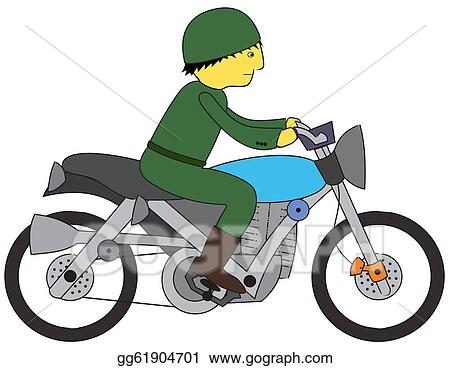 vector art soldier riding motorcycle clipart drawing gg61904701 rh gograph com motorbike clipart images free motorcycle clipart images