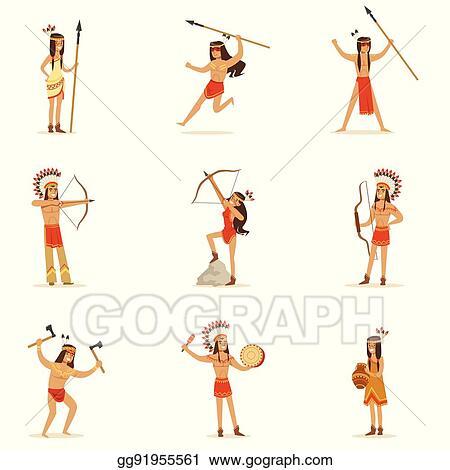 Eps Illustration Soldier War Bonnet Native American Indian