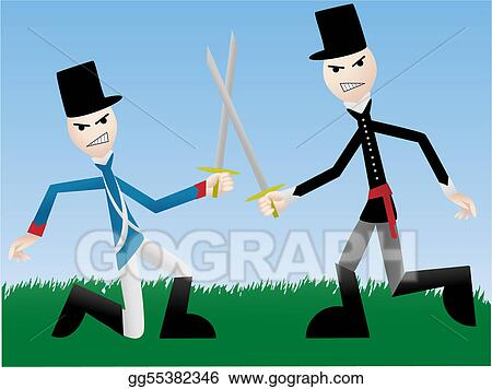 Vector Art - Soldiers fighting with swords  Clipart Drawing