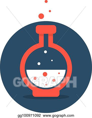 clip art vector solution icon with red lab bottle stock eps