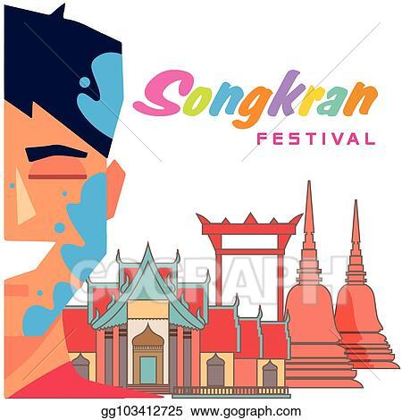 Vector Art - Songkran festival in thailand boy playing water temple