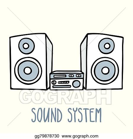 sound system clipart. vector art - cute doodle sketch of sound system in blue tones, isolated on white. eps clipart gg79878730 ,