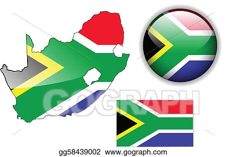 Flag Map Of Africa.Clip Art Vector South Africa Flag Map And Glossy B Stock Eps
