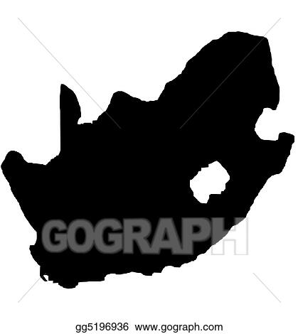 Stock Illustration South Africa Outline Map Isolated Clip Art