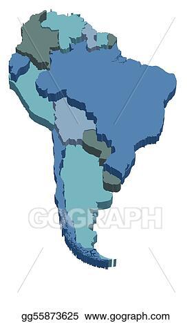 Map Of America 3d Vector.Vector Illustration South America 3d Map Stock Clip Art