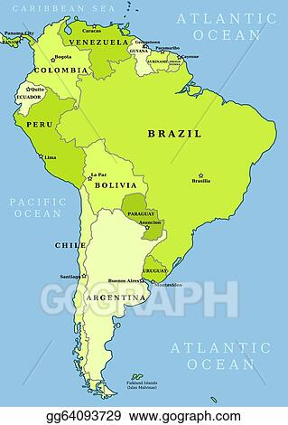 Vector Art South america administrative map EPS clipart