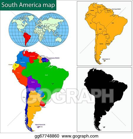 EPS Vector - South america map. Stock Clipart Illustration ...