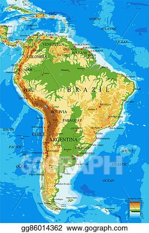 Drawings - South america-physical map. Stock Illustration gg86014362 ...