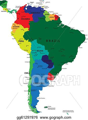 Vector Art - South america political map. EPS clipart gg61297876 ...