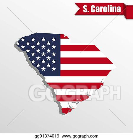 Vector Stock - South carolina state map with us flag inside ...