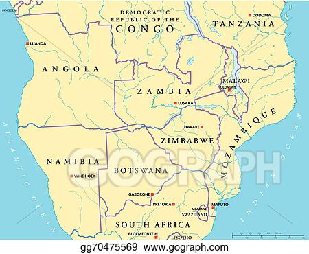 Vector Illustration   South central africa political map. EPS