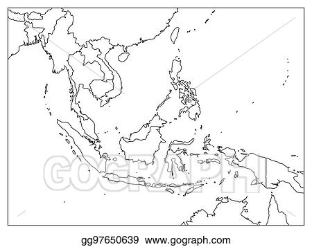 Black Map Of Asia.Eps Illustration South East Asia Political Map Black Outline On