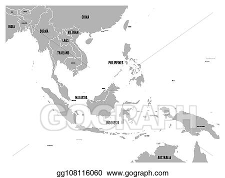 Vector Illustration - South east asia political map. grey land on ...